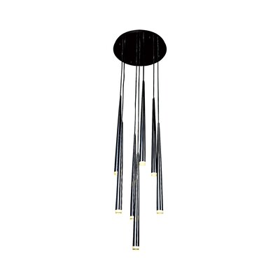 Highland 7-Light LED Cluster Pendant Finish: Black