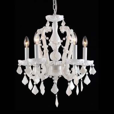 5-Light Crystal Chandelier Color: White