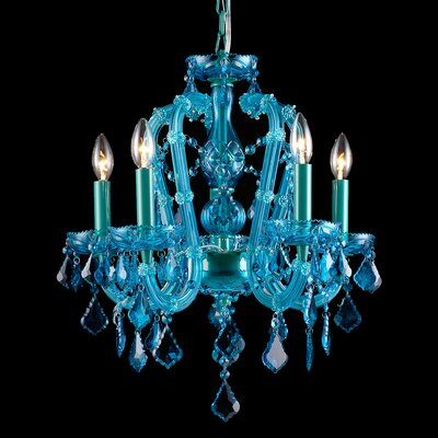 5-Light Crystal Chandelier Finish: Blue