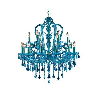 18-Light Semi Flush Mount Finish: Blue