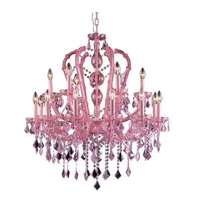 18-Light Semi Flush Mount Color: Pink