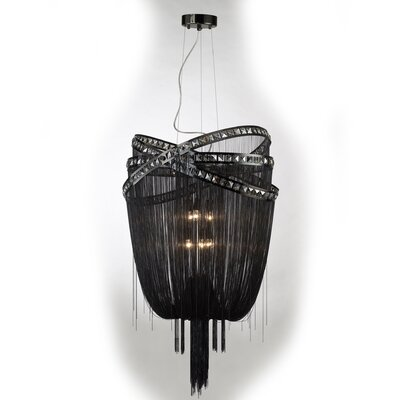 Wilshire Drive 6-Light Waterfall Chandelier Color: Black