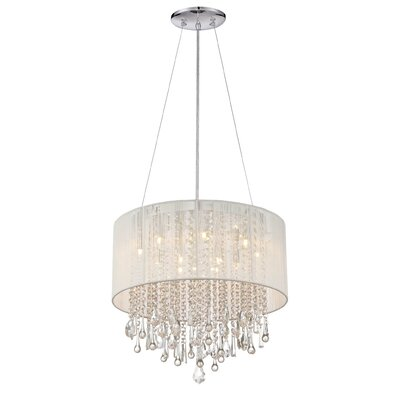 Chamberlin 12-Light Drum Chandelier Size: 18.5 H x 20 W, Finish: White