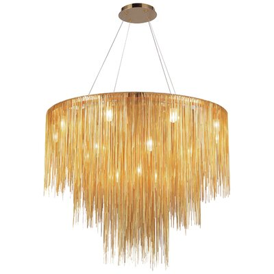 Ahart 18-Light Waterfall Chandelier Finish: Gold