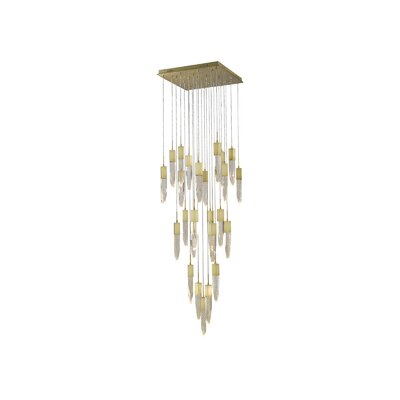 Aspen 25-Light LED Cascade Pendant Finish: Brushed Brass