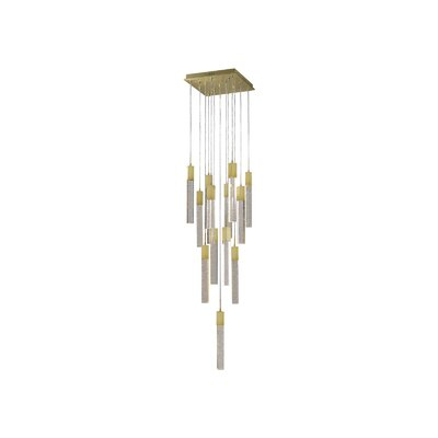 Glacier Avenue 13-Light LED Cascade Pendant Finish: Brushed Brass