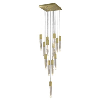 Aspen 13-Light LED Cascade Pendant Finish: Brushed Brass