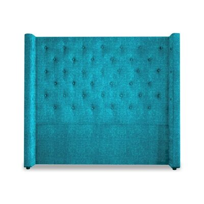 Bren Upholstered Wingback Headboard Size: King, Upholstery: Peacock Blue