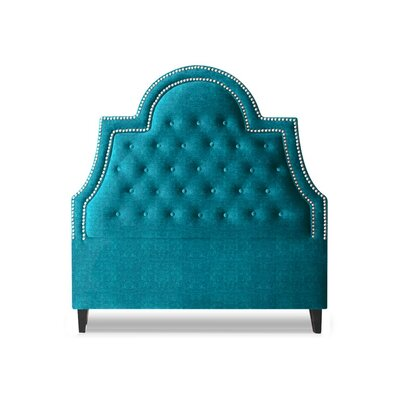 Amanda Upholstered Panel Headboard Size: Queen, Upholstery: Peacock Blue