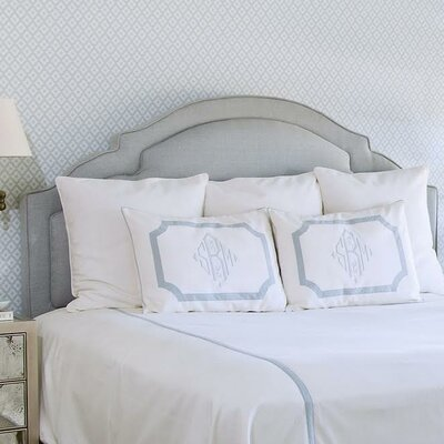 Sheila Upholstered Panel Headboard Size: Full, Upholstery: Grey- Blue