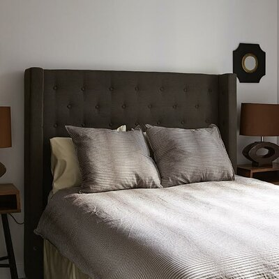 Bren Upholstered Wingback Headboard Size: King, Upholstery: Pewter