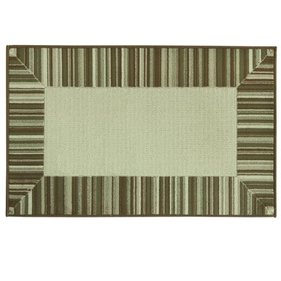 Cotton Elegance Border Stripe Brown Rug Rug Size: 24 x 310