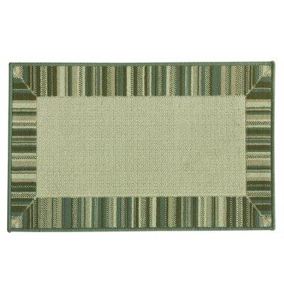Cotton Elegance Border Stripe Blue Rug Rug Size: 18 x 29