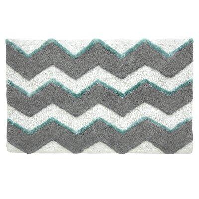 Bacova Guild Jessica Simpson Zig Bath Mat - Color: Neutral Gray Aqua