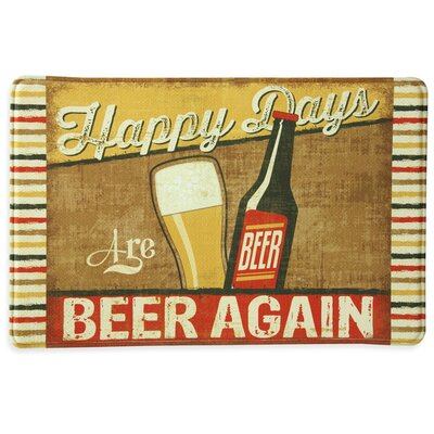 Happy Days are BEER AGAIN Memory Foam Kitchen Mat in Tan