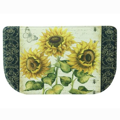 French Sunflower Memory Foam Kitchen Mat Rug Size: 16 x 26