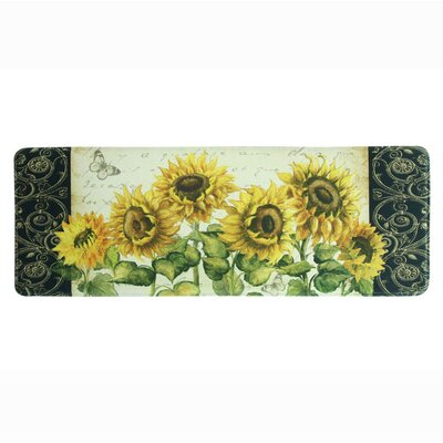 French Sunflower Memory Foam Kitchen Mat Rug Size: 18 x 47