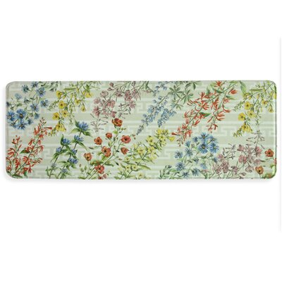Summer Flowers Memory Foam Kitchen Mat Rug Size: 18 x 47