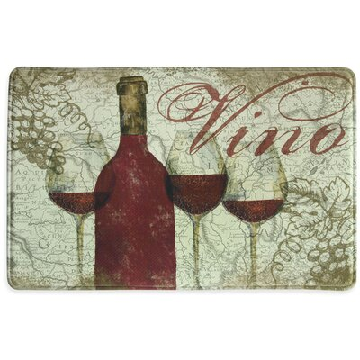 Vino Memory Foam Slice Kitchen Mat Color: Burgundy, Rug Size: 15 x 26
