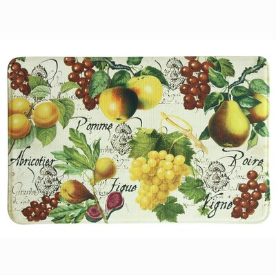 Botanical Fruit Memory Foam Kitchen Mat Mat Size: Rectangle (211 x 110), Color: Red