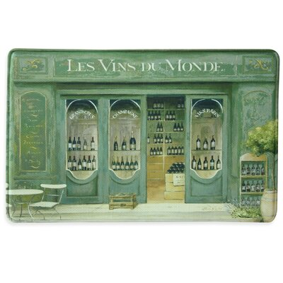 Les Vins du Monde Memory Foam Kitchen Mat Color: Teal
