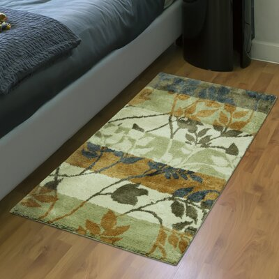 Izaguirre Tonal Vine Gold Area Rug Rug Size: Rectangle 19 x 28