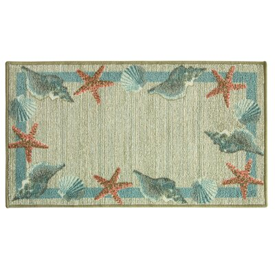 Elianna Star Shell Border Blue/Beige Area Rug