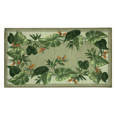 Elianna Tropical Border Green/Beige Area Rug Rug Size: Rectangle 2 x 34