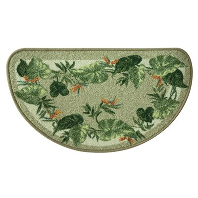 Elianna Tropical Border Green/Beige Area Rug Rug Size: Half Circle 16 x 27