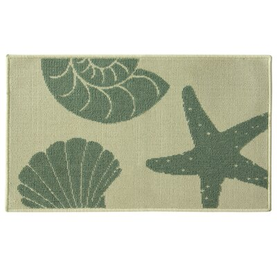 Eldridge Stars and Shells Green/Beige Area Rug