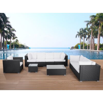 Maestro 7 Piece Sofa Set With Cushions Frame Color: Black