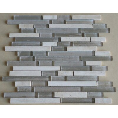 Parallel Random Sized Marble and Glass Mosaic Tile in Grey and Cream