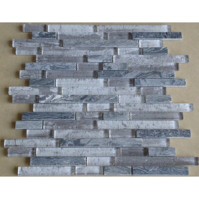 Parallel Random Sized Marble and Beveled Glass Tile in Gray