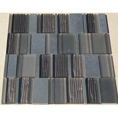 Loft Random Sized Marble and Beveled Glass Tile in Black Granite