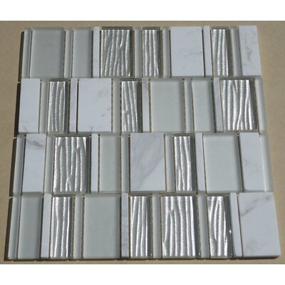 Loft Random Sized Marble and Glass Mosaic Tile in Glossy Gray