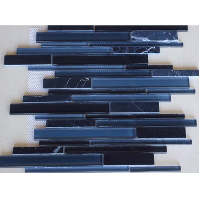 Marbella Random Sized Marble and Beveled Glass Tile in Nero Marquina