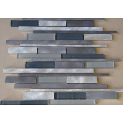 Urban Random Sized Aluminum and Glass Metal Look Tile in Glossy Silver/Gray