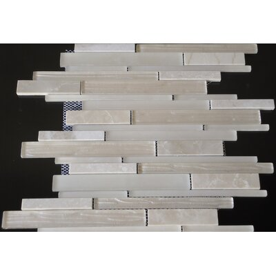 Loft Random Sized Marble and Glass Mosaic Tile in Glossy Cream