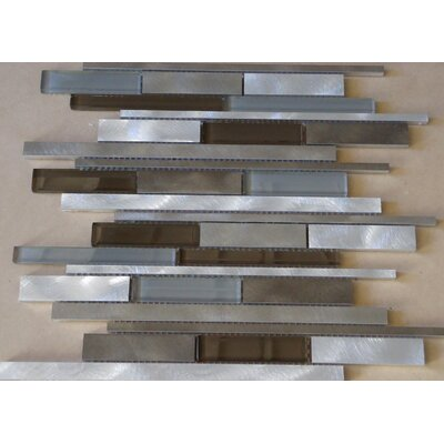 Urban Random Sized Aluminum and Glass Metal Look Tile in 4 Color Blend