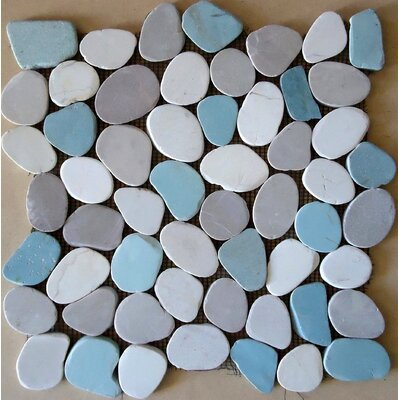 Rocha Random Sized Natural Stone Pebble Tile in Matte Gray/Blue
