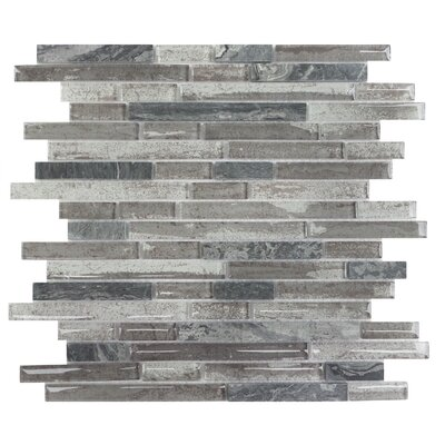 Palisades Random Sized Glass Mosaic Tile in Gray
