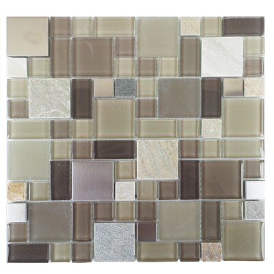 Parker Random Sized Glass/Stone/Metal Mosaic Tile in Tan and Brown