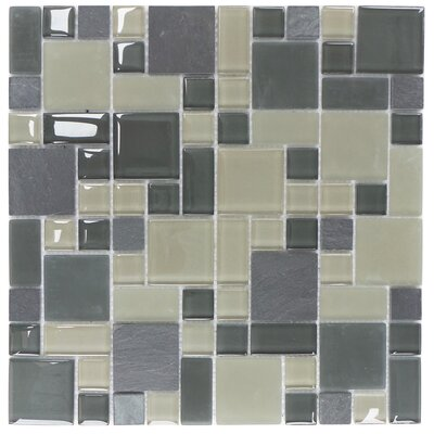 Parker Random Sized Glass and Stone Mosaic Tile in Gray and Beige