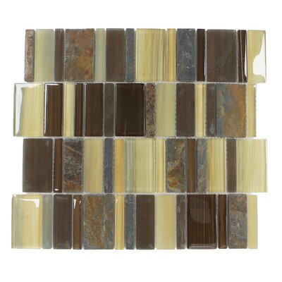 Watson Random Sized Glass/Stone/Slate Mosaic Tile in Brown and Tan