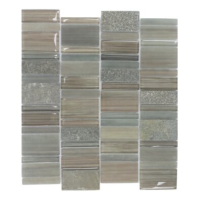 Watson Random Sized Glass and Stone Mosaic Tile in Taupe and Gray