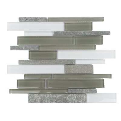 Yorke Random Sized Glass and Stone Mosaic Tile in Gray and White