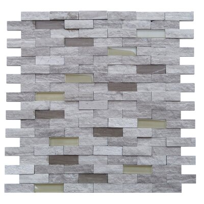 Avenue 0.5 x 1.88 Stone and Glass Splitface Tile in Gray and Beige
