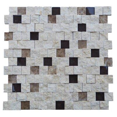Avenue 1 x 1 Engineered Stone Splitface Tile in Beige