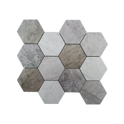 Metro 10.37 x 12  Engineered Stone Mosaic Tile in Gray