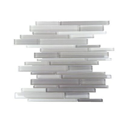 Horizon Random Sized Glass Splitface Tile in Gray and White